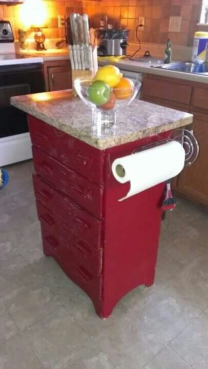 Re Purposed Dresser Into A Kitchen Island. (Notice The Paper Towel Holder  Is A Counter Style That Has Been Attached On Itu0027s Side)