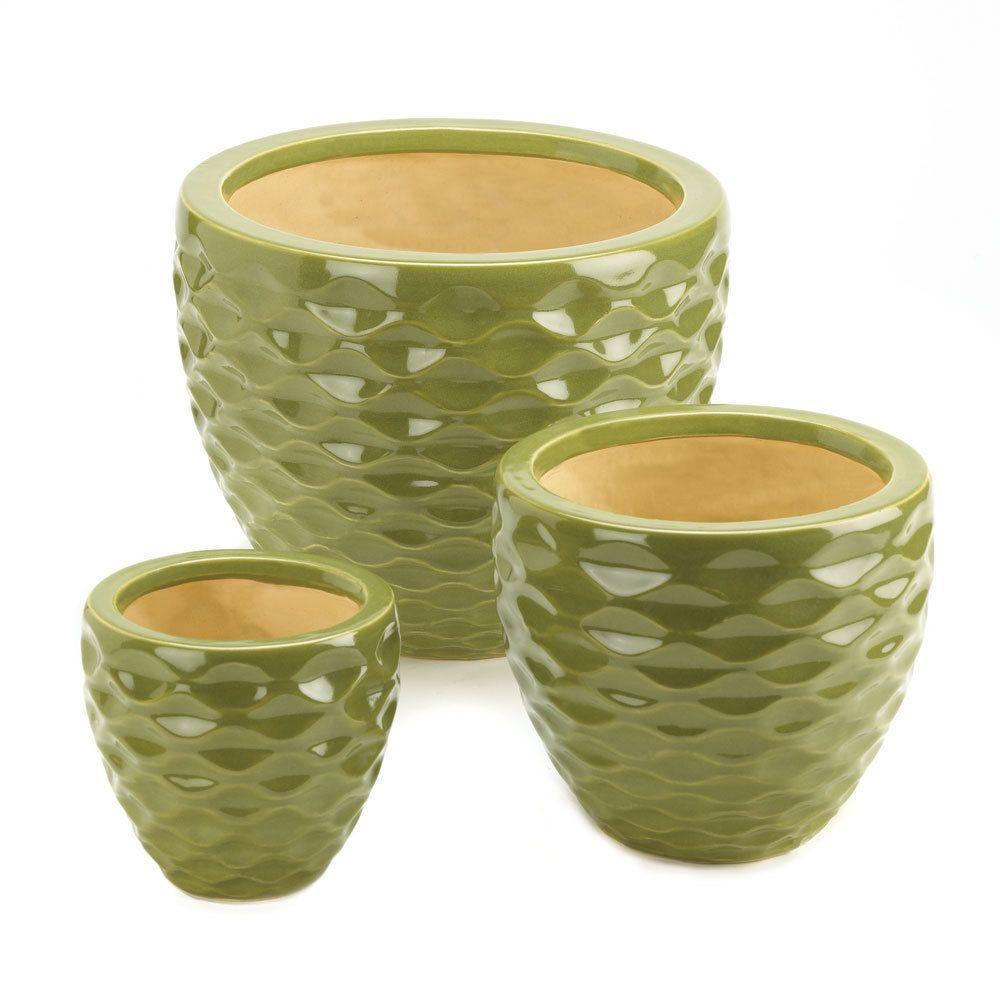 Planter Set Planters 3 Garden Pots Flower Pot Ceramic Green Outdoor Decor Indoor