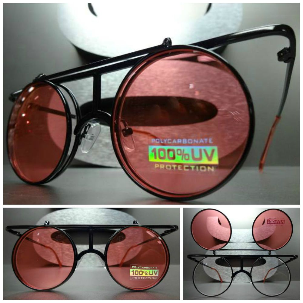 f293e6eadc CLASSIC VINTAGE RETRO STEAMPUNK Round Pink Flip Up Lens SUN GLASSES Black  Frame in Clothing
