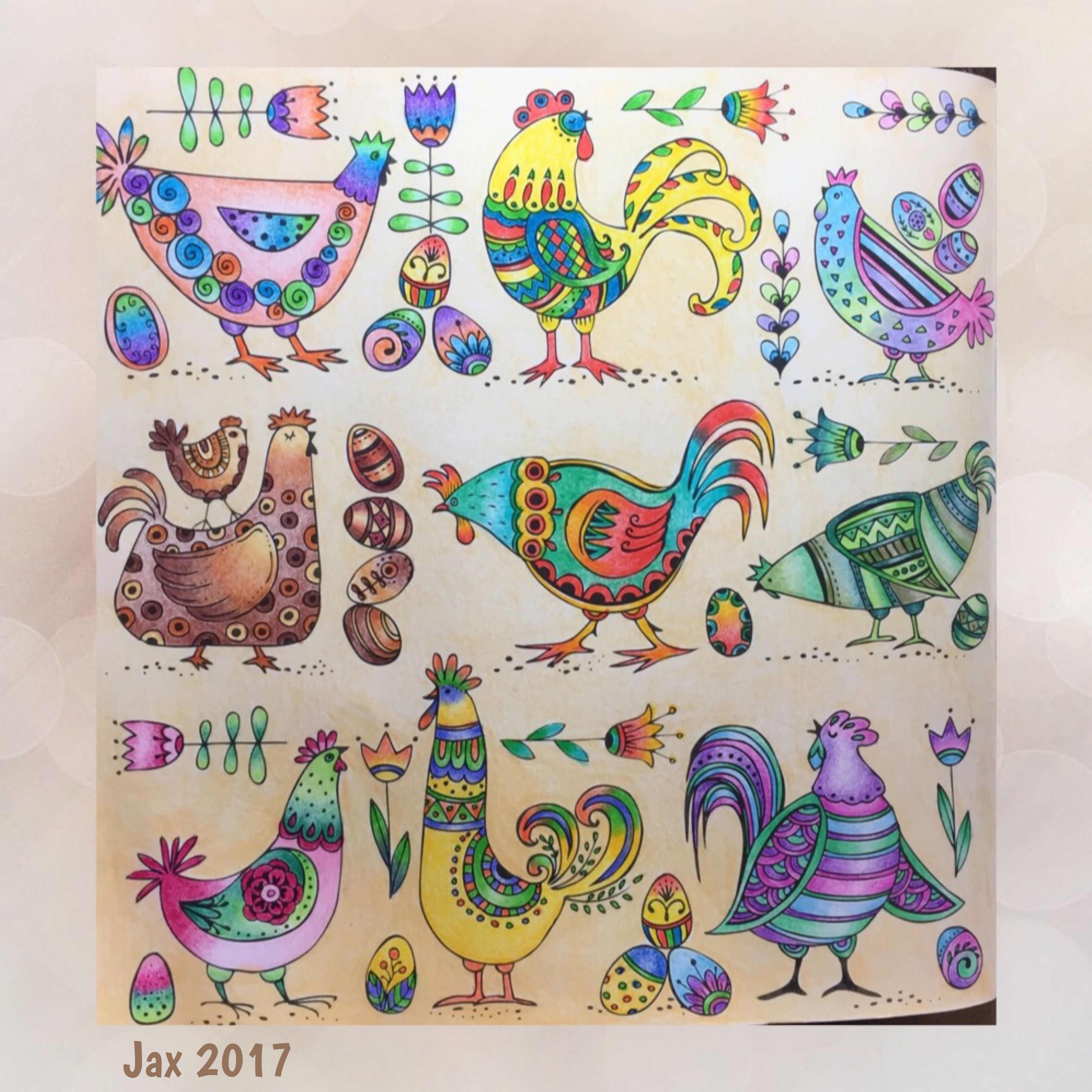 Funky chickens from adult coloring book \