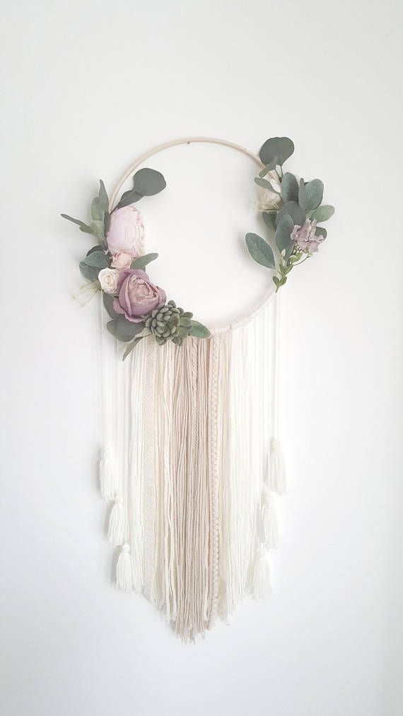 Nursery Dreamcatcher, Floral Wreath, Dreamcatcher, Wall Hanging Decor, Floral Dreamcatcher, Princess Nursery, Wall Decor, Shabby Chic – DIY