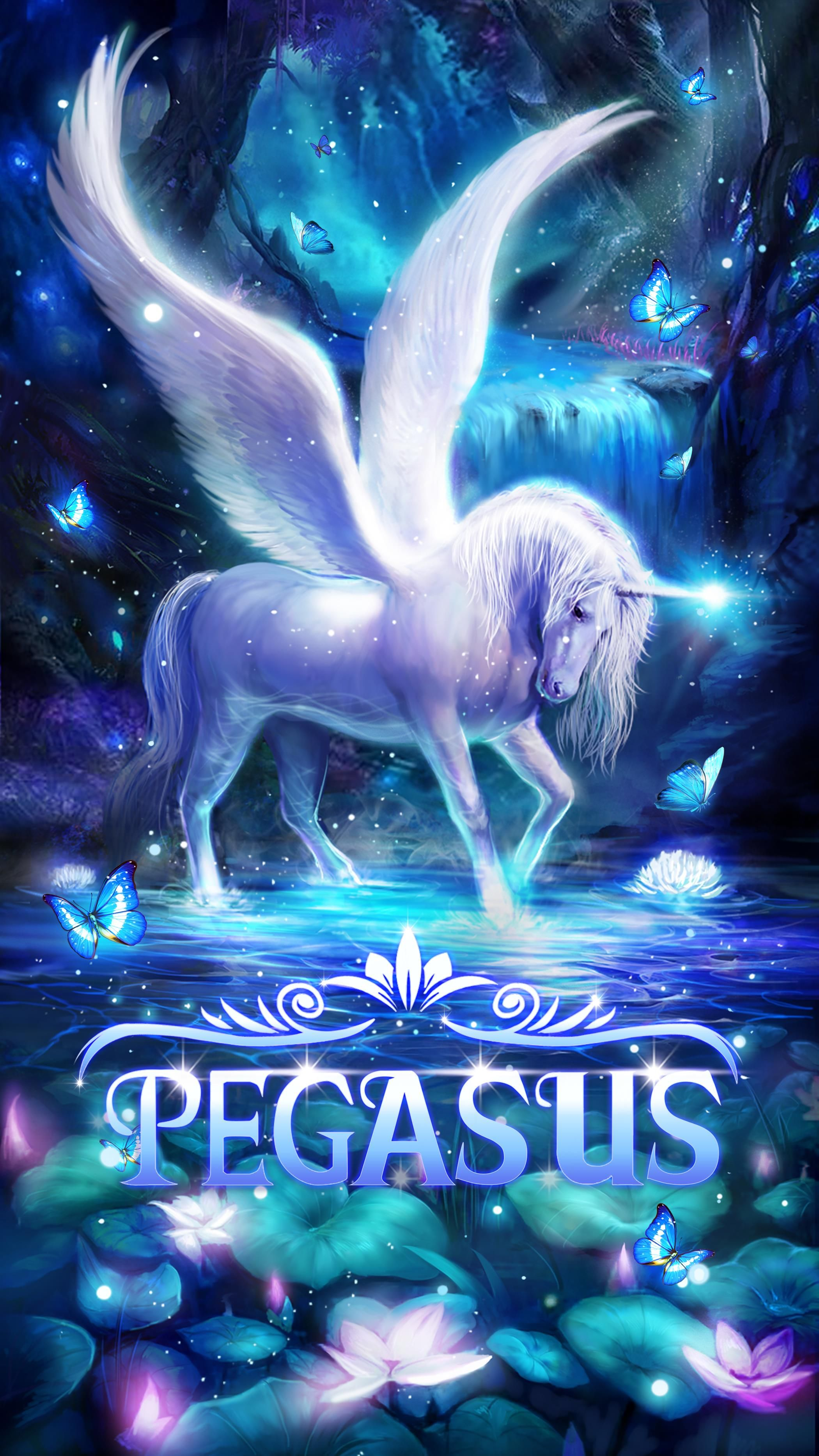 Pegasus Live Wallpaper Unicorn Alicorn Android With Flying Fireflies Blue Butterflies