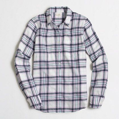 J.Crew+Factory+-+Factory+lightweight+flannel+check+popover+shirt