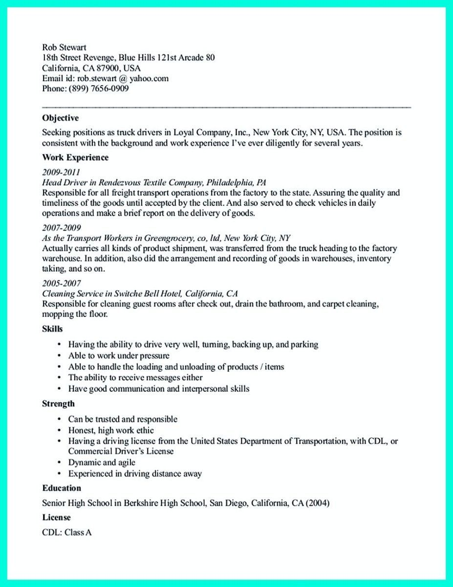 cdl truck driver job description for resume new pin on