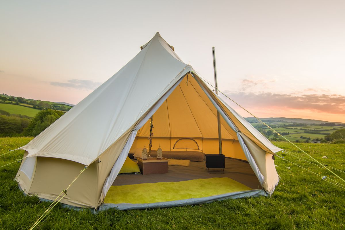 A teepee with a spacious patio to enjoy