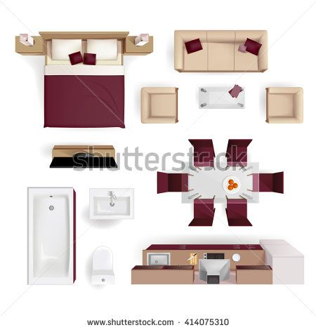 Amazing Modern Apartment Living Room Bedroom And Bathroom Furniture Design Elements  Top View Image Realistic Vector Illustration