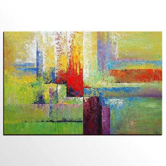 Abstract Art Painting, Original Painting, Bedroom Wall Art, Modern ...