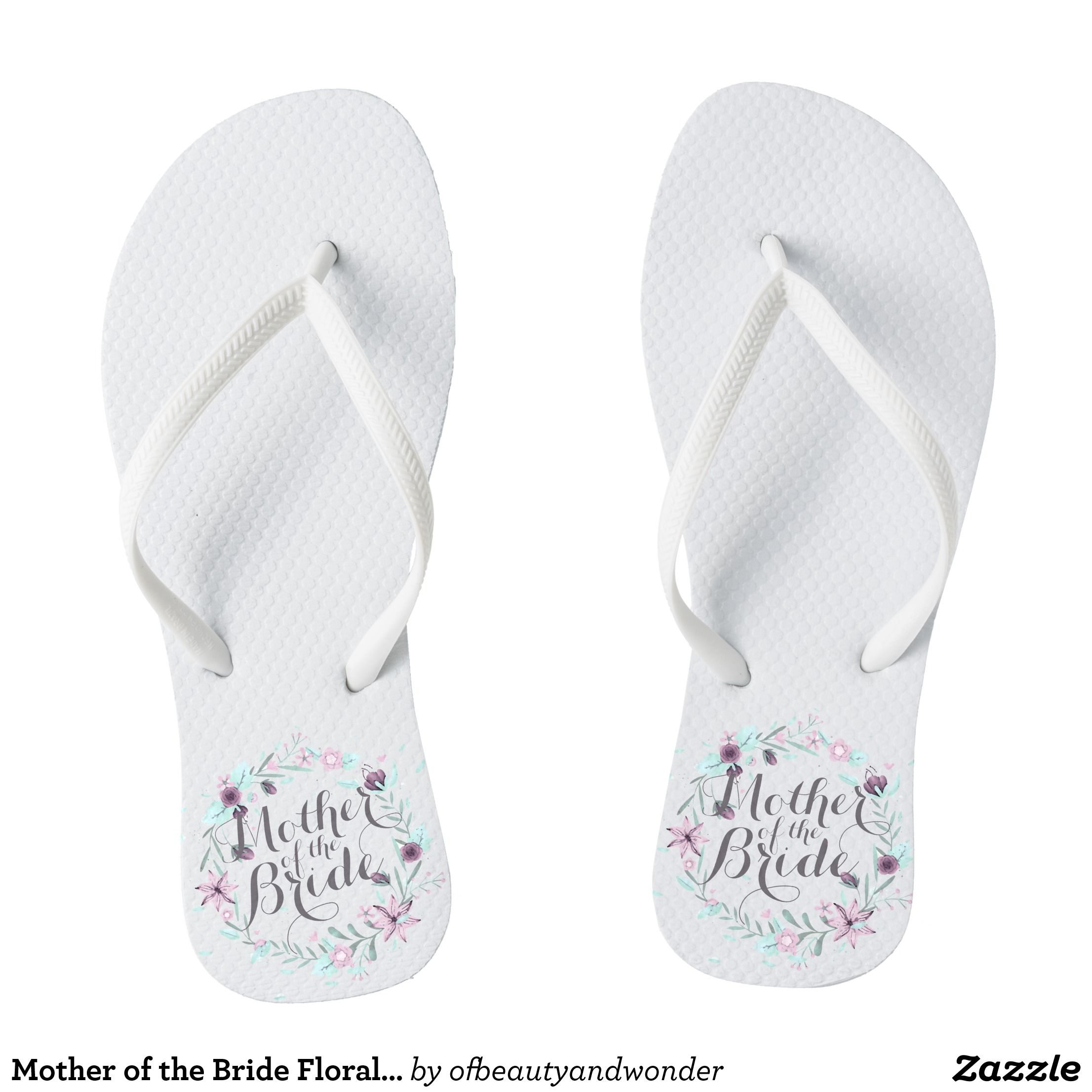 Mother Of The Bride Fl Wedding Flip Flops Durable Style Hawaiian Beach Sandals By Talented Fashion Graphic Designers Flipflops