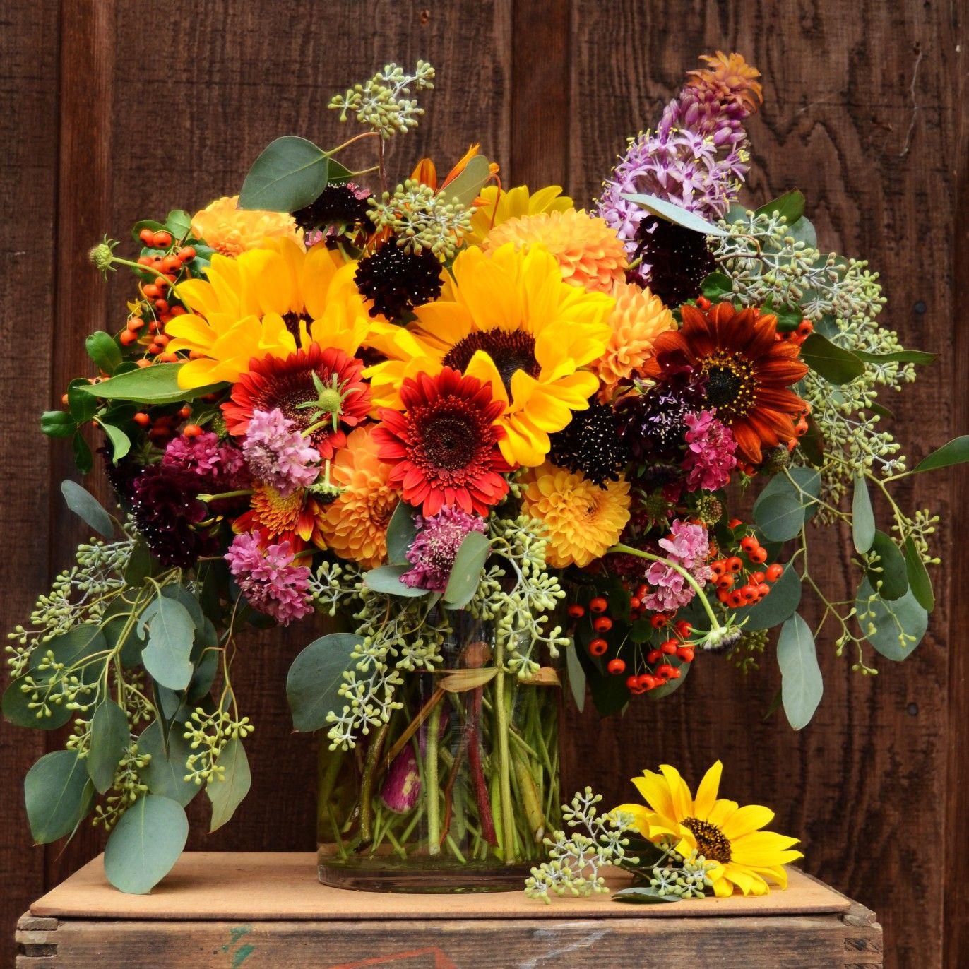 Fall florals. Sunflower arrangement. Autumn floral colors. | Flower ...