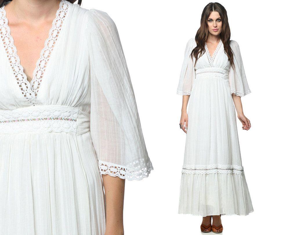 Hippie Maxi Dress 70s White Gauze Bohemian Wedding Lace