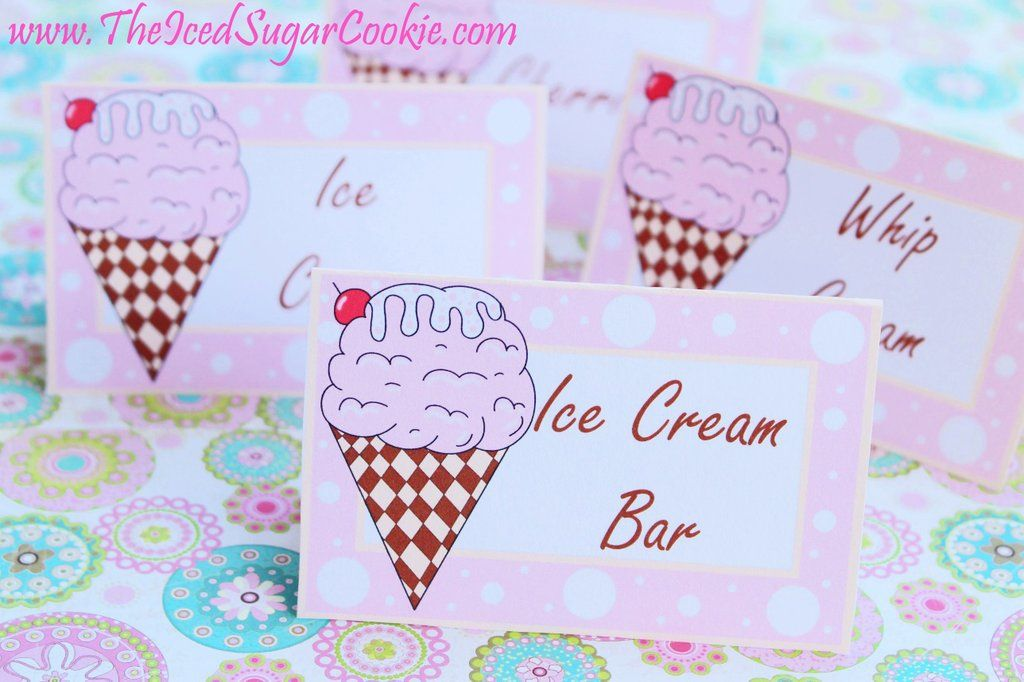 ice cream birthday party free printable template pattern cutout food