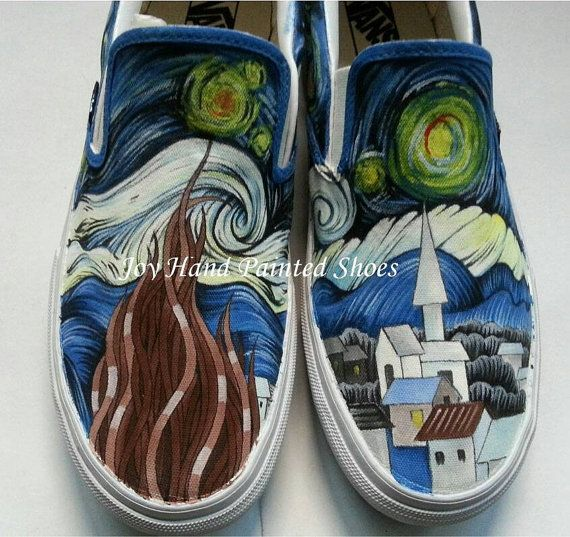 21d10d641b  VincentVanGogh Vincent Van Gogh Starry Night Vans Custom Vans Hand Painted  Star
