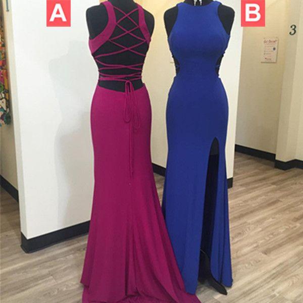 8c70d9226ae Long Sexy Sheath Straps Sleeveless Corset Split Front Prom Dresses ...
