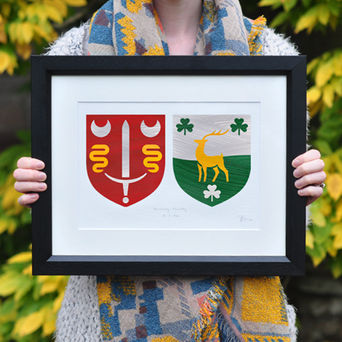 Personalised Hand Painted Irish Family Crest A Unique Wedding Gift
