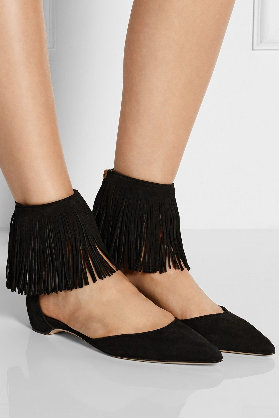 Paul Andrew Suede Fringe Flats outlet wide range of discount codes clearance store lz8u2X8Tq