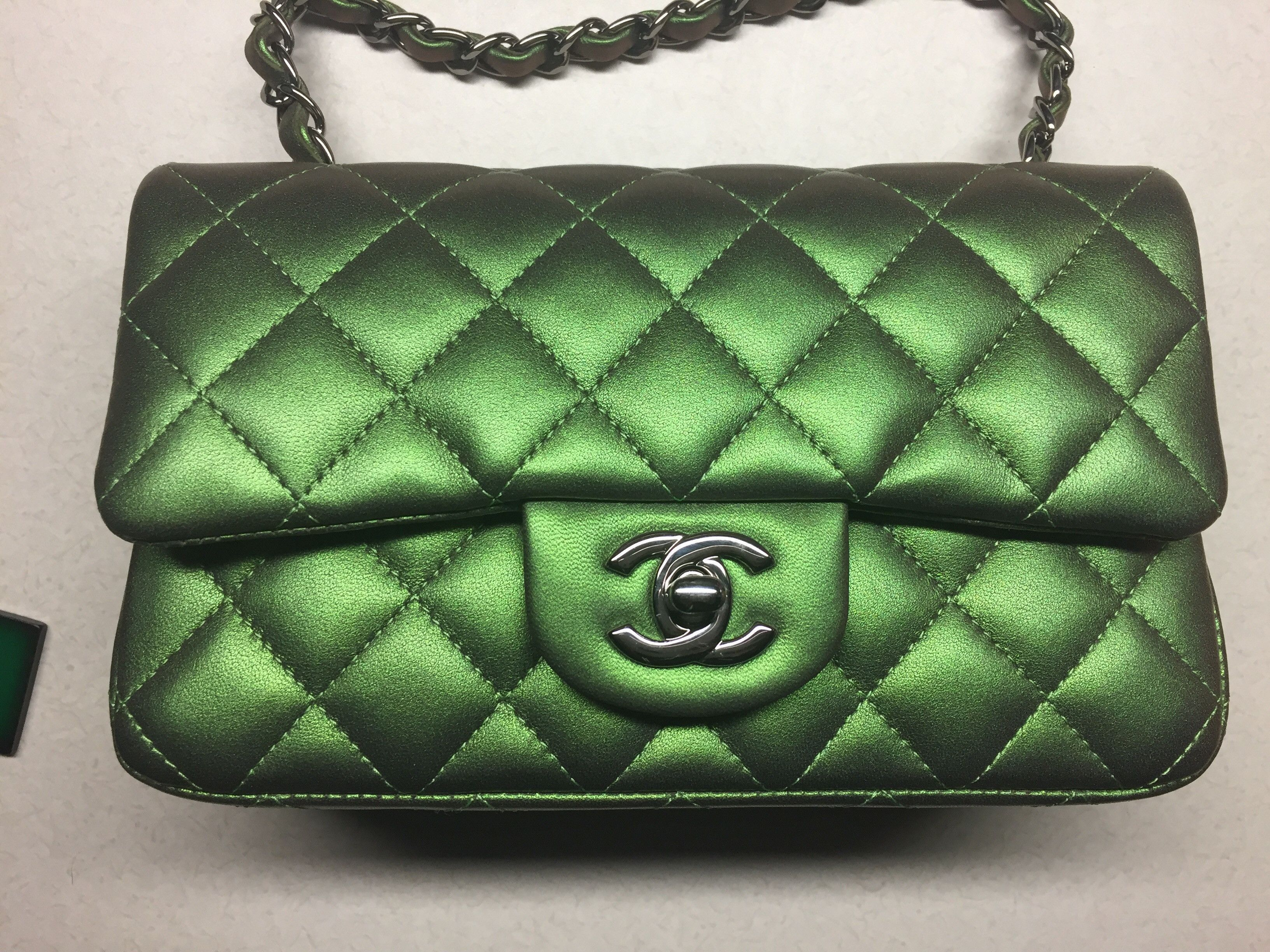 367f21c244e6 Chanel Mini Iridescent Green Classic Leather Metallic Handbag Cross Body Bag