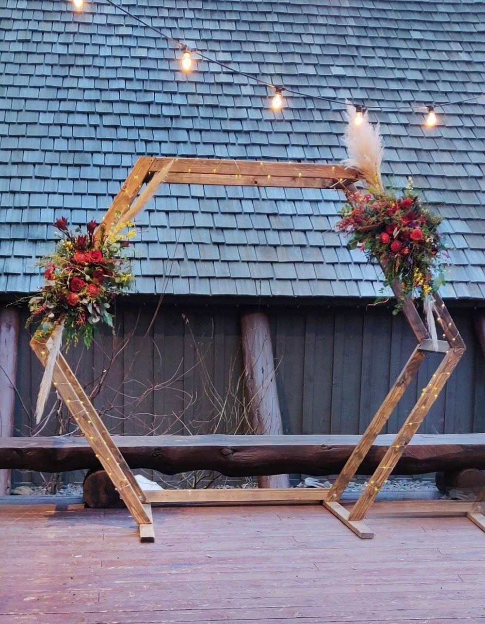Hexagon ceremony arch ceremony arch wood arch arch