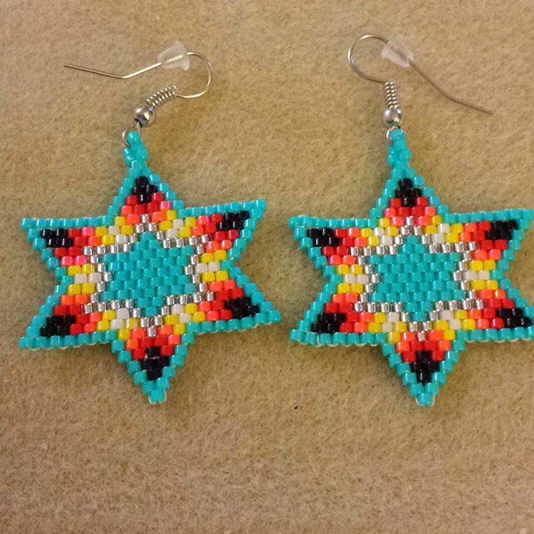 Turquoise Fire Star Earrings Star Fire Beads Beading