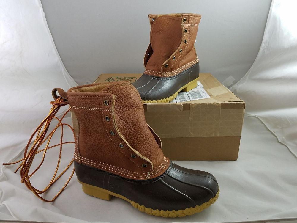 New Ll Bean Tumbled Leather Shearling Lined Winter Lace Up