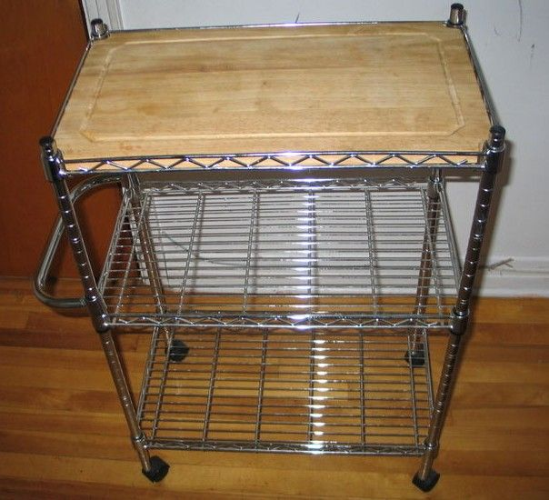 Chome metro shelving style wire kitchen cart, with wood top ...