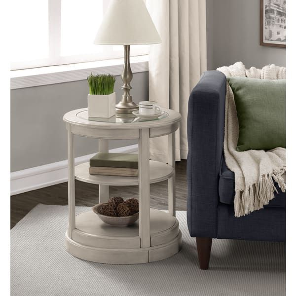 the gray barn round grey wooden end table with glass top