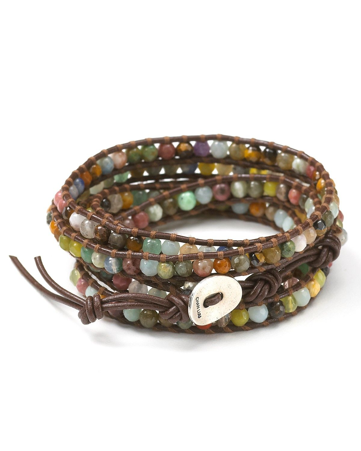 Chan Luu Semiprecious Stone Embellished Leather Wrap Bracelet Bloomingdale S 32 L On Closure Stones Sterling Silver Polyester
