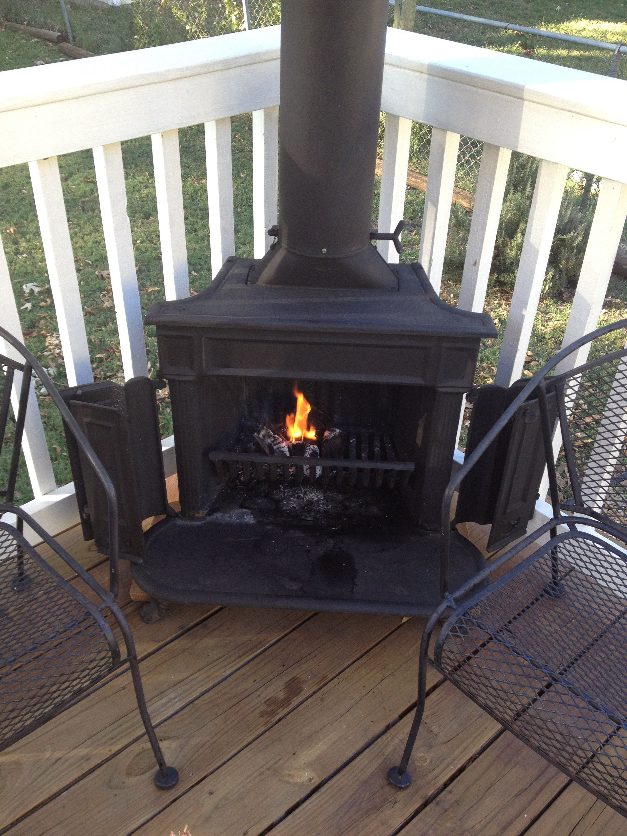 Franklin Stove On My Deck Outdoor Wood Fireplace Franklin