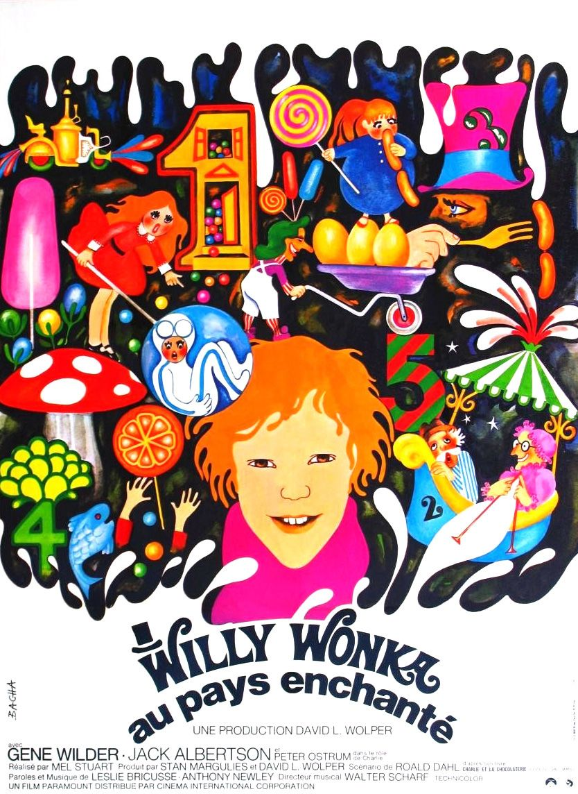 French poster for Willy Wonka & the Chocolate Factory, 1971 ...