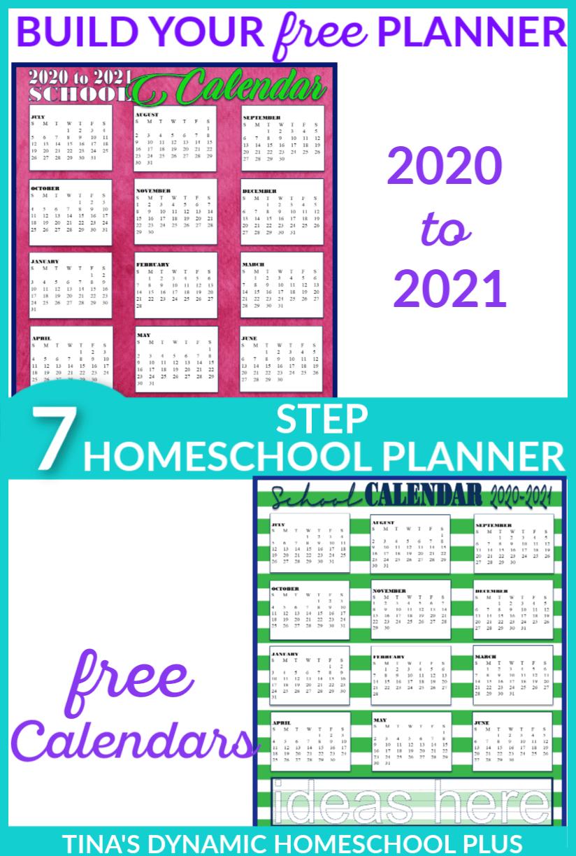 Free 2020 2021 Academic Calendars Homeschool Planner Homeschool Planner Homeschool Curriculum Planner Teacher Lesson Planner