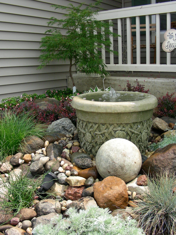 Small Rock Garden And Fountain Rock Garden Design Landscaping