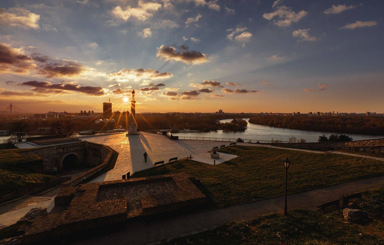 Wallpaper dawn morning Serbia Belgrade Stari Grad images for in 2020   Belgrade, Beautiful sky ...