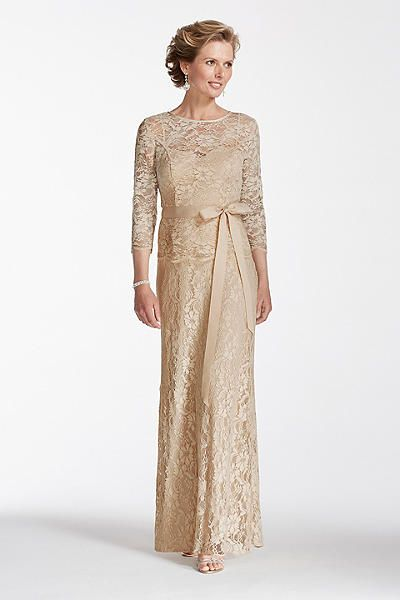 Long Gold Lace Dress With Sash Modest When Paired Ivory Or Undershirt