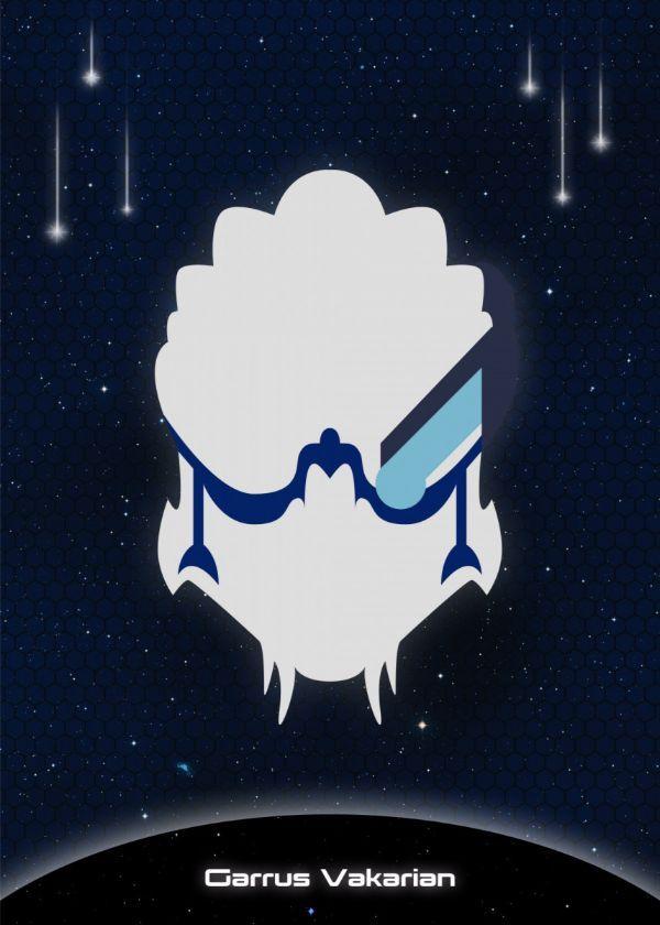 "Mass Effect Minimalist Character Faces Garrus Vakarian #Displate artwork by artist ""Raymond Diaz"". Part… | Displate thumbnail"