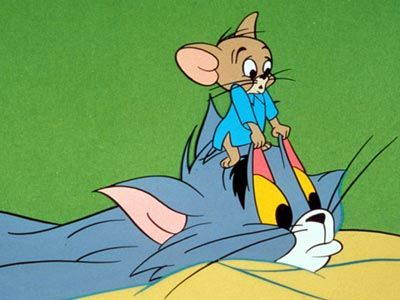 Tom and Jerry I tried doing that to my eyelids it really