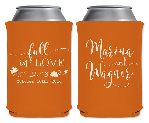 Wedding Can Coolers Personalized Wedding Favors Custom Wedding Party Favors Fall In Love 1A #personalizedwedding