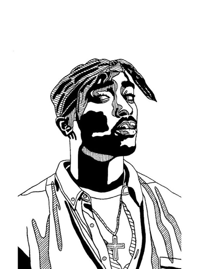 PAPERFOXNL - Tupac Shakur - black and white fineliner ...