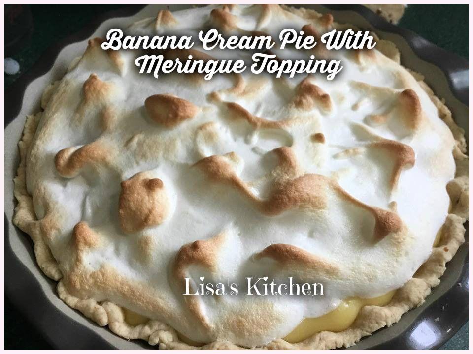 Banana Cream Pie With Meringue Topping - Lisa Walker #bananapie