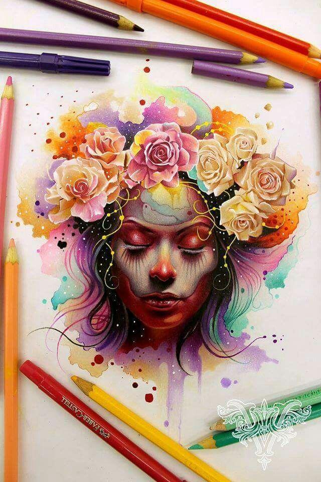 Drawings Works By Vareta Com Imagens Aquarela Arte Colorida