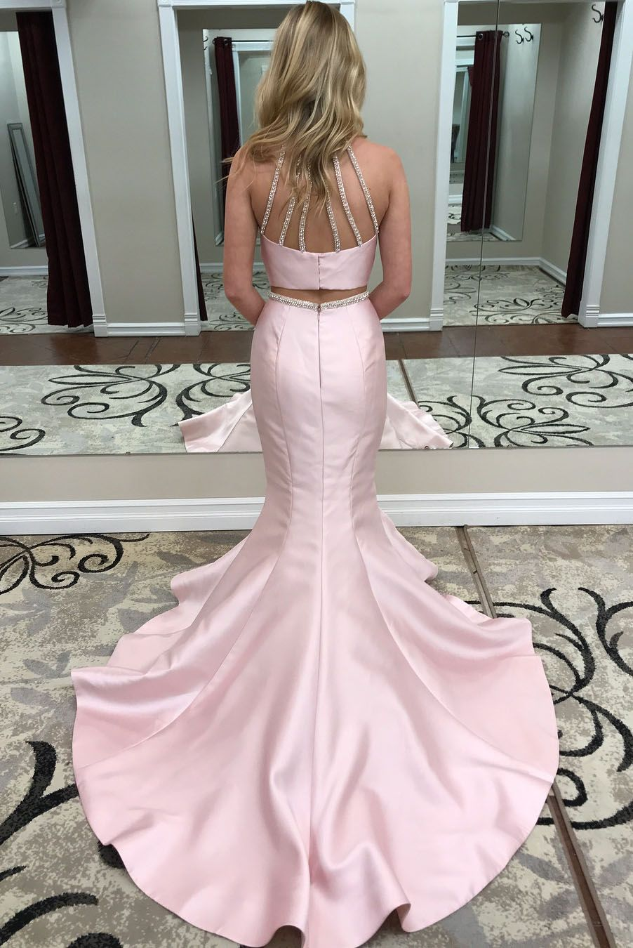 Gorgeous two piece pink mermaid long prom dress eevening dresses