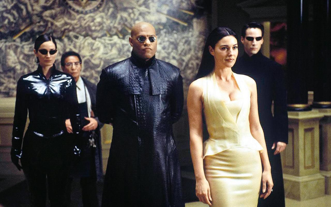 Neil Amp Adrien Rayment In The Matrix Reloaded T Neo Trinity My Amplifier Monica Bellucci 2003 With Laurence Fishburne And Keanu Reeves