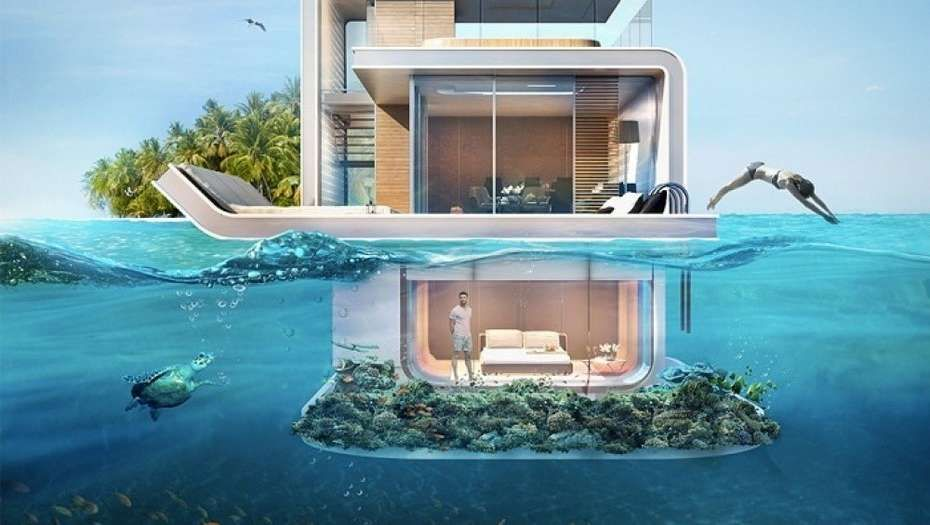 El ltimo lujo de dubai casas flotantes con pisos bajo el for Hotel en maldivas con restaurante bajo el agua