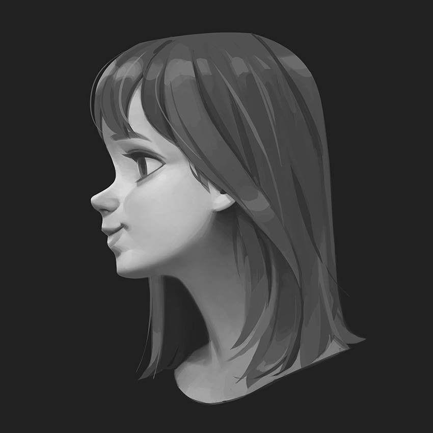 Side View Of A Girl Sungmin Jung On Artstation At Https Www Artstation Com Artwork Lv1wne Side Face Drawing Anime Side View Girl Face Drawing