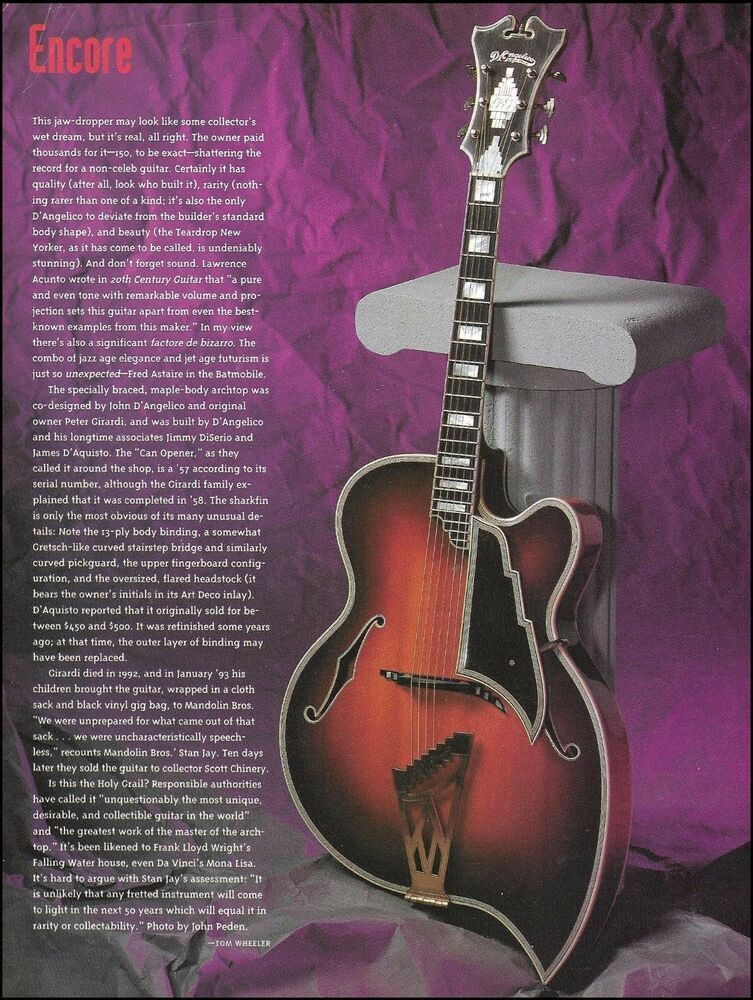 The 1957 D Angelico Teardrop New Yorker 1994 Full Page Guitar History Article Dangelico In 2020 Guitar Guitar Magazine History Articles