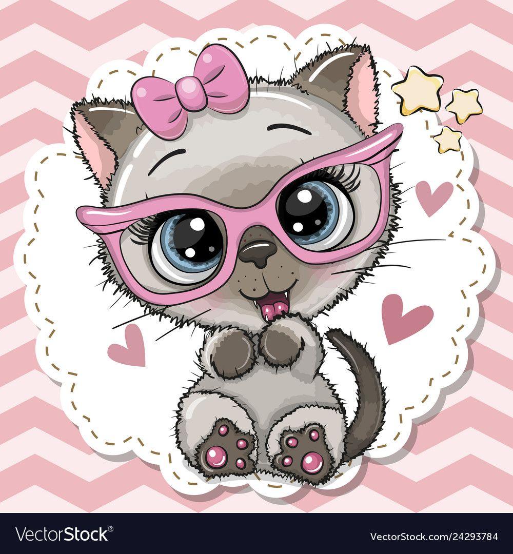 Cute cat girl in pink eyeglasses vector image on Cute