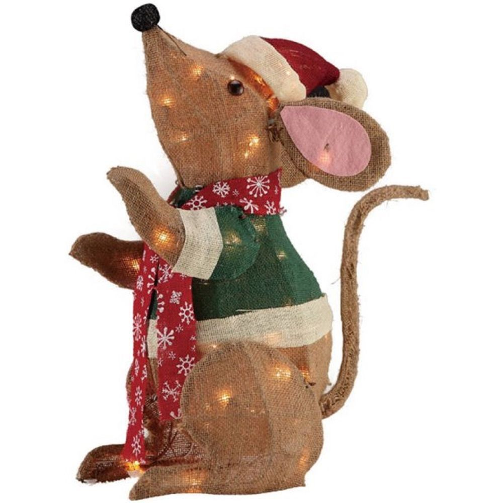 Christmas Fuzzy Mouse with Lights Santa Hat Outdoor Indoor Yard Decor NEW