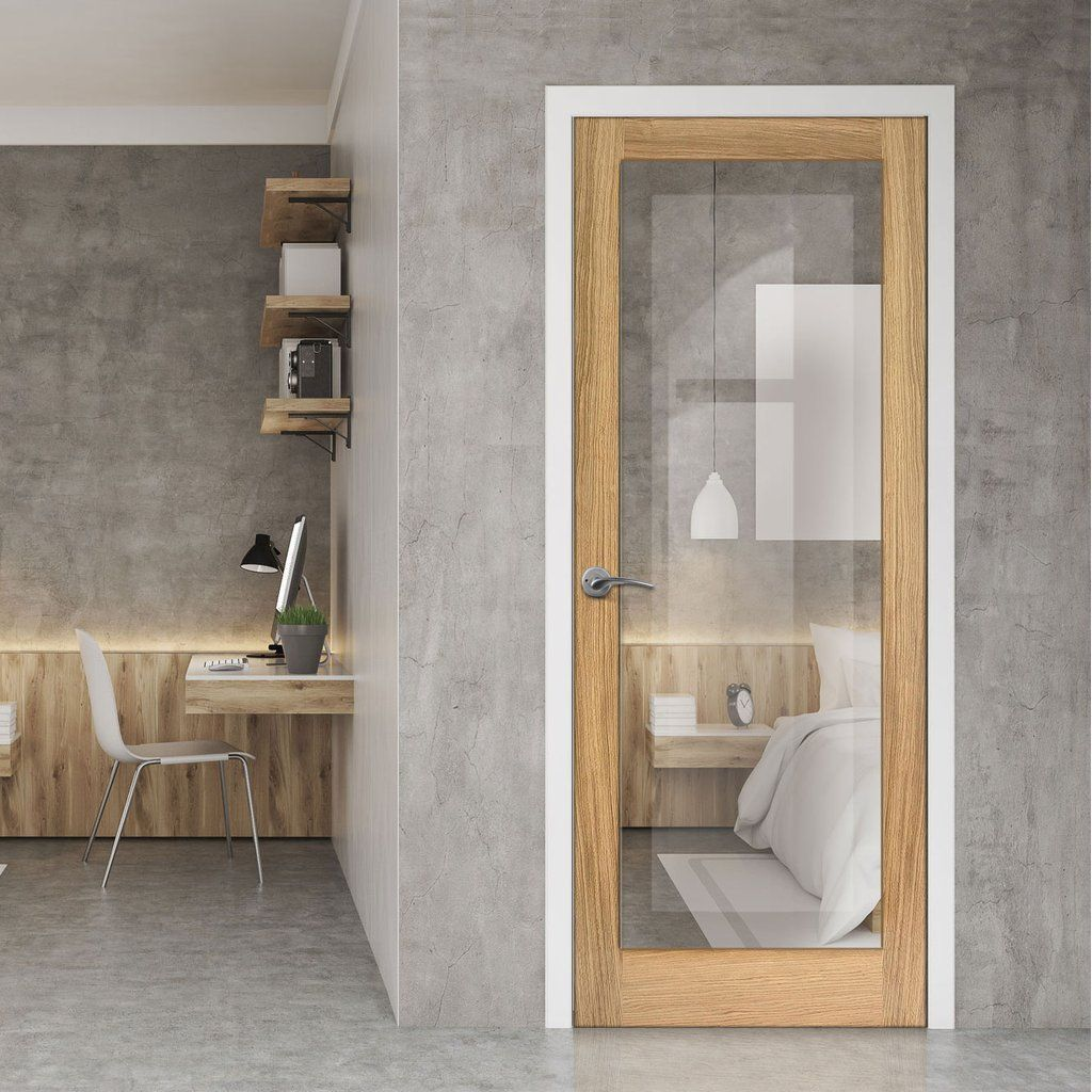 Full Pane Oak Door Clear Glass Internal Glass Doors Internal Doors Doors Interior