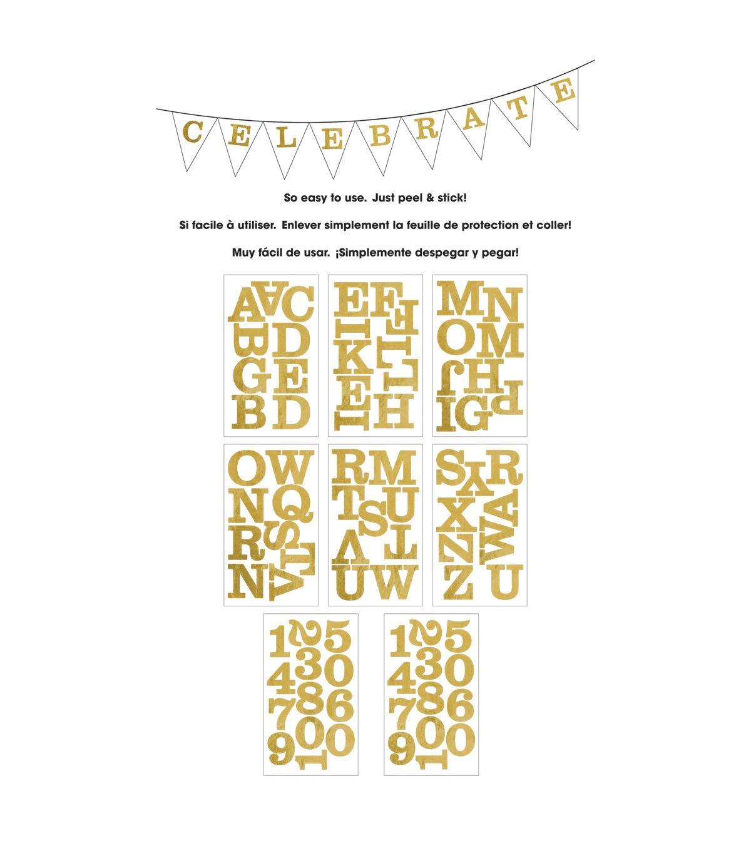 Me My Big Ideas Century Gold Foil Large Alphabet Stickers Uppercase Alphabet Gold Foil