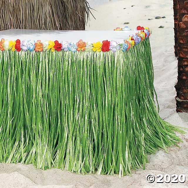 Tropical Flowered Table Skirt | Oriental Trading