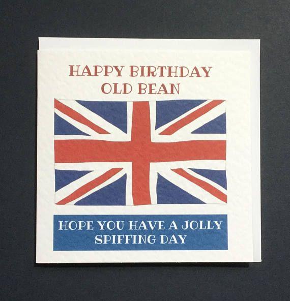 Happy Birthday Old Bean Handmade In England Card Union Jack Etsy Birthday Cards For Mum Dad Cards Dad Birthday Card