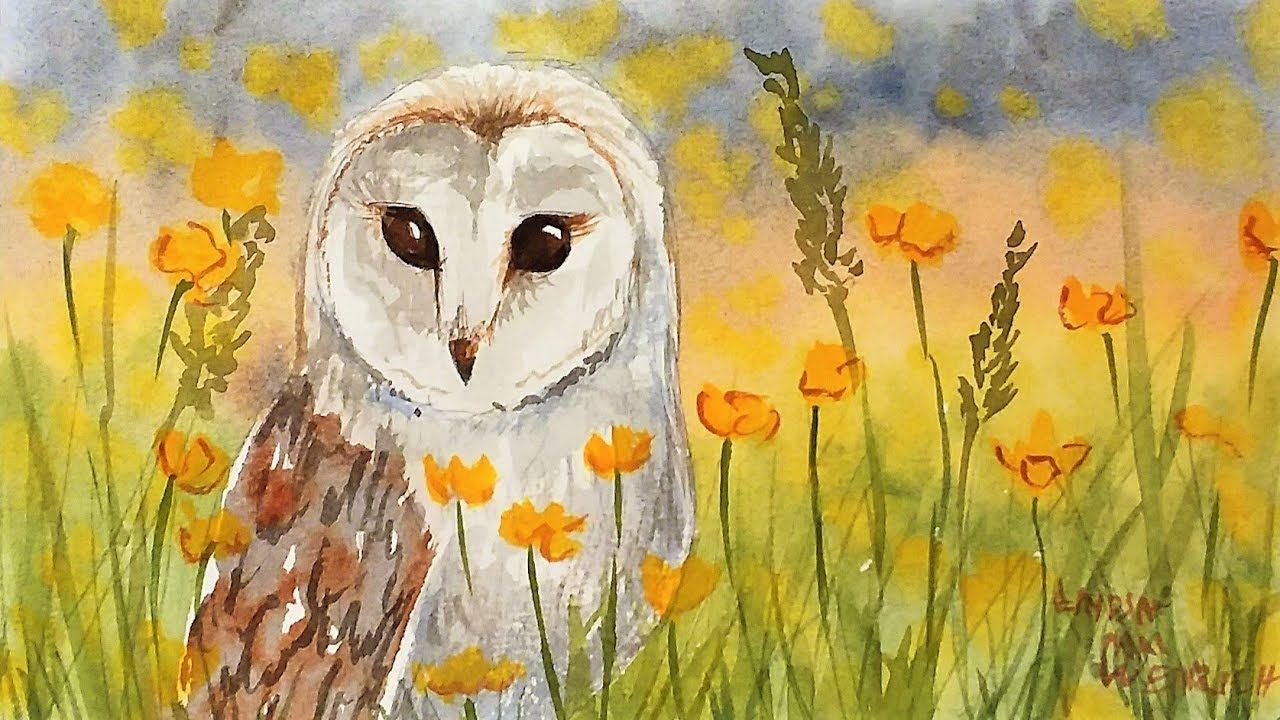 Easy Owl Watercolor Painting Tutorial For Beginners Youtube